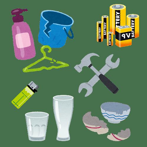 不燃物(プラスチック製品、工具、ガラス製品、乾電池、ライター、陶器製品等)